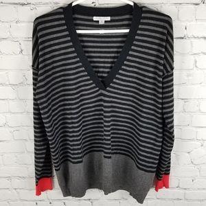 LARSEN GRAY | striped thin knit v-neck sweater